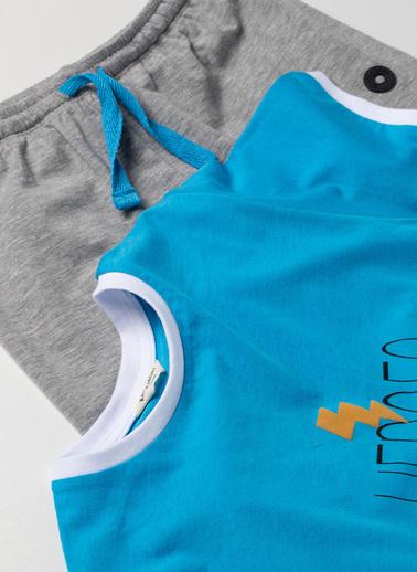 Katia & Bony Blue College Erkek Çocuk Pijama Takım  Mavi